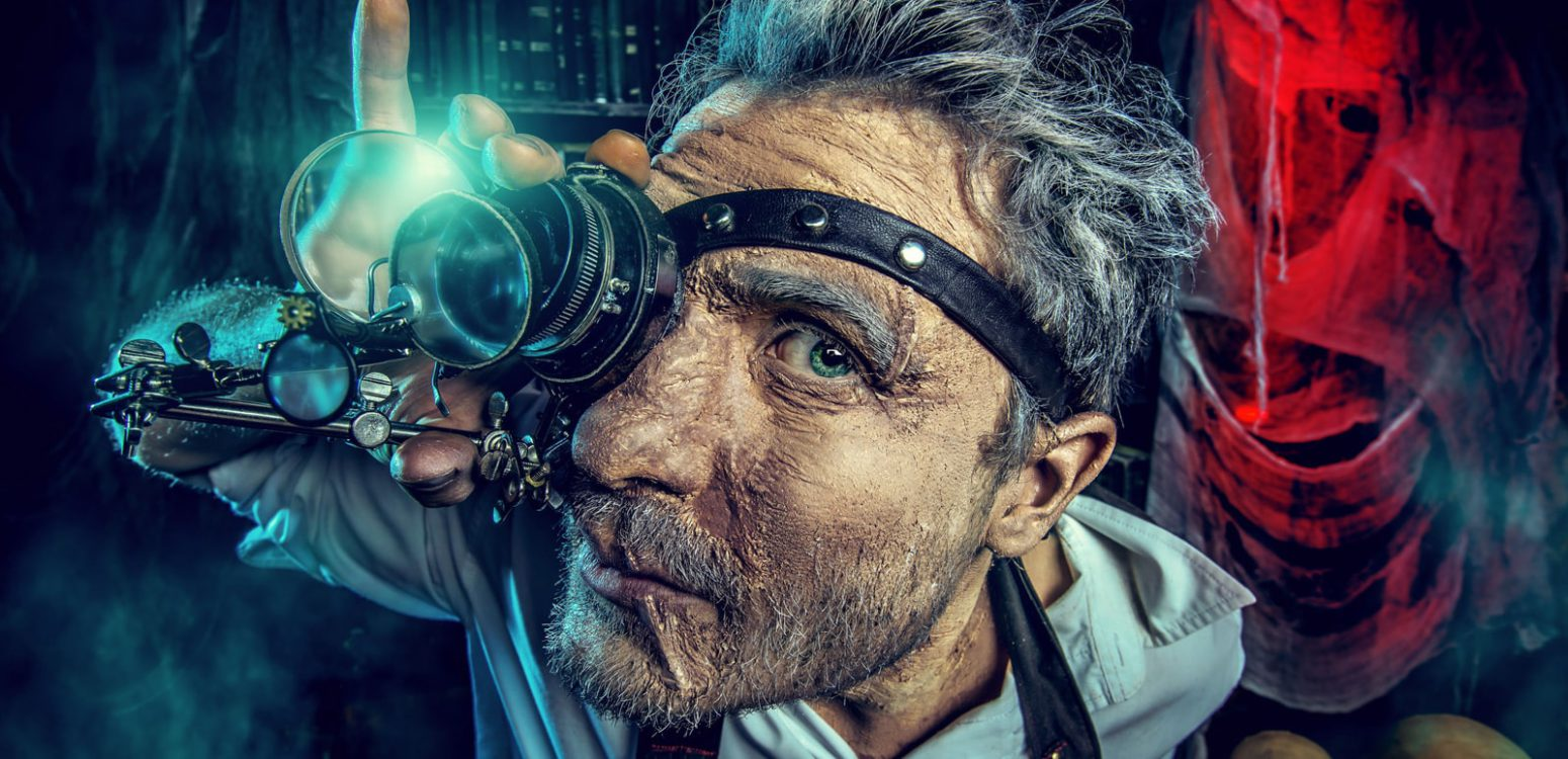 Close-Up Image of Man with Magnifying Glass Eyepatch