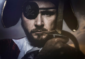 Bearded Pirate with an Eyepatch and a Sword