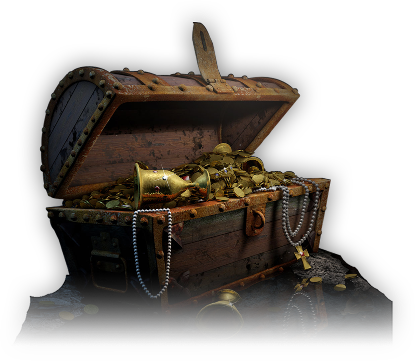 Open Treasure Chest with Gold and Jewelry – White Background