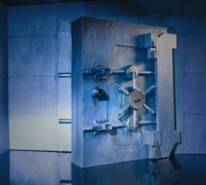 Open Bank Vault Door in Dim Lighting