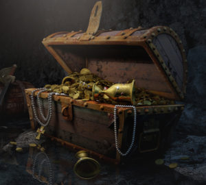 Open Treasure Chest with Gold and Jewelry – Dark Background