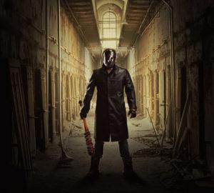 Serial Killer with Bat in Dark Hallway